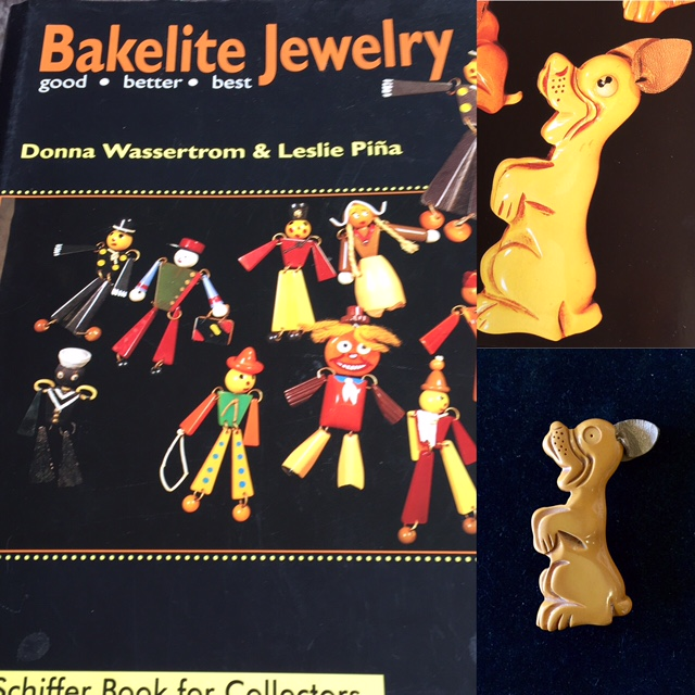 """Begging Dog"" Brooch - Featured in Bakelite Jewelry: Good, Better, Best"