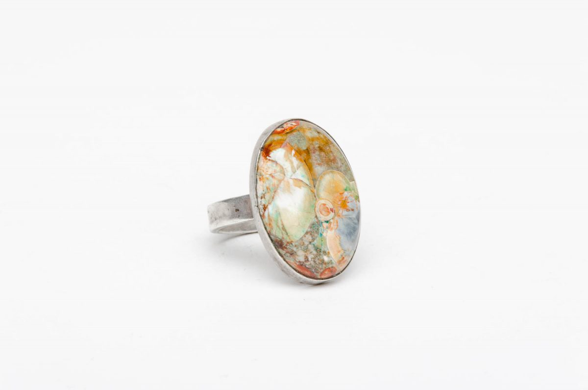 agate and sterling silver ring take of santa fe
