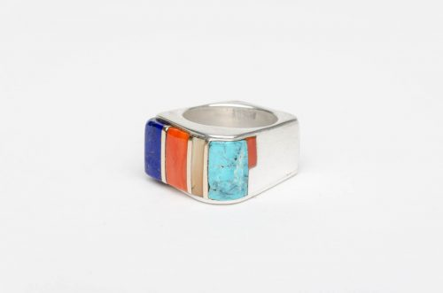 lapis turquoise coral gold inlay keyonnie begay ring4