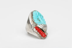 turquoise coral silver handcarved ring2