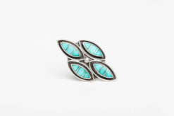turquoise silver channel inlay ring1