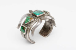 turquoise silver sandcast cuff2