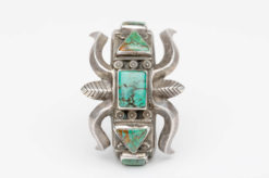 turquoise silver sandcast cuff6