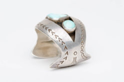 turquoise silver shadow box cuff1