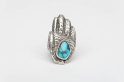 turquoise silver tufacast healers hand ring1