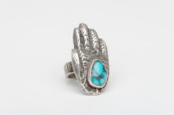 turquoise silver tufacast healers hand ring2